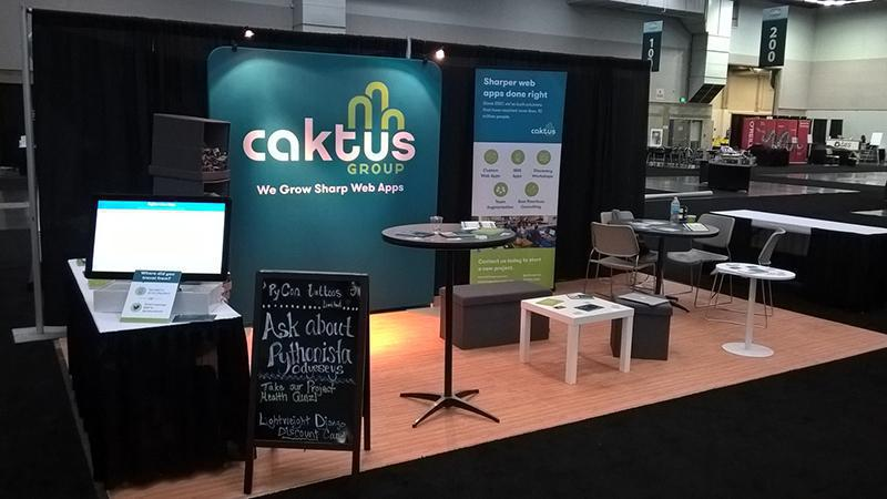 The Caktus booth at PyCon before the festivities begin.