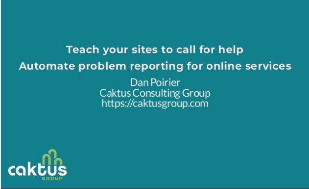 Teach your sites to call for help: automated problem reporting (cover image)