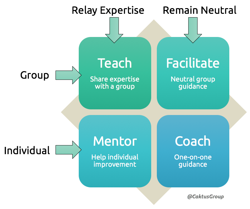 A diagram of the four Agile coaching stances.
