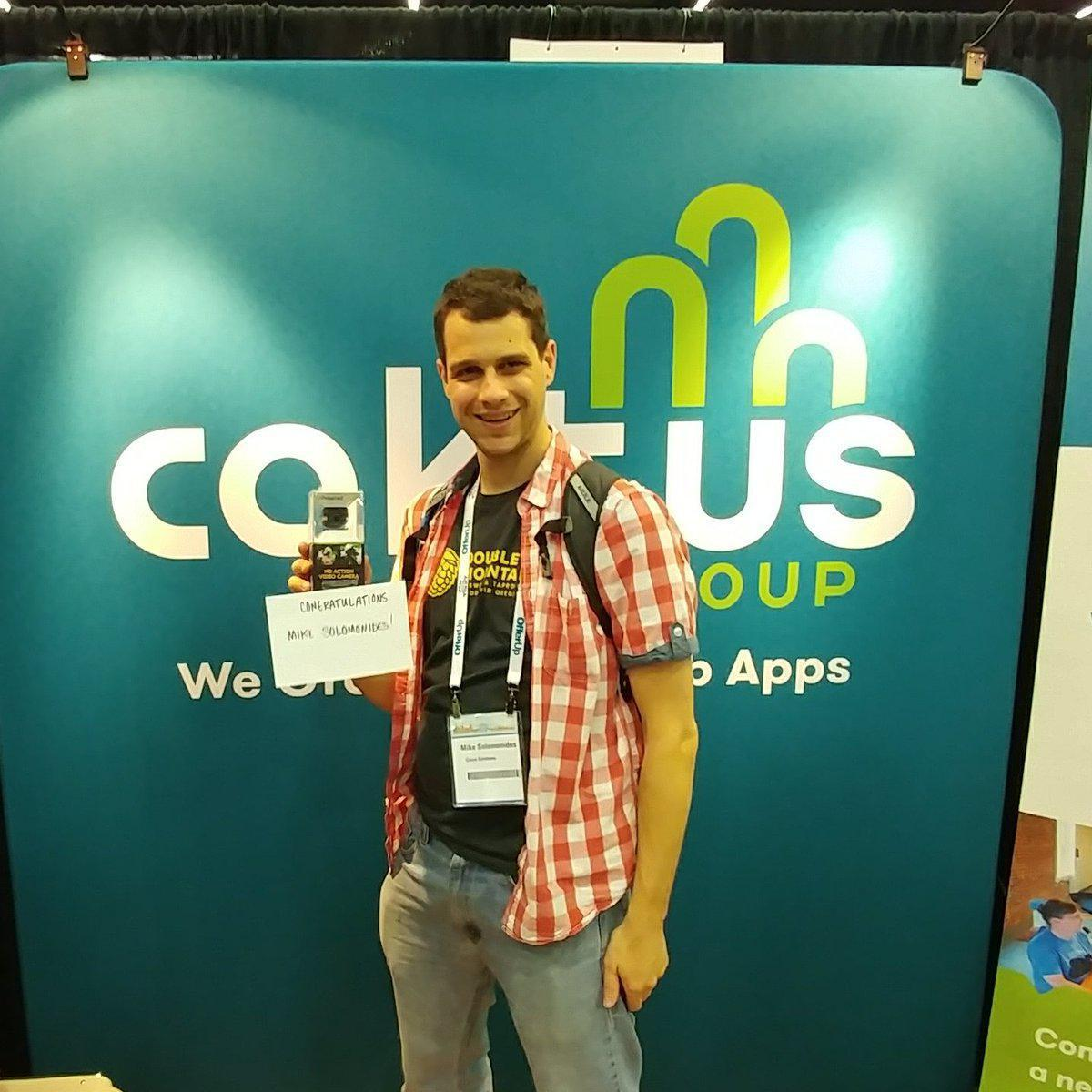 Winner of the prize draw at the Caktus booth