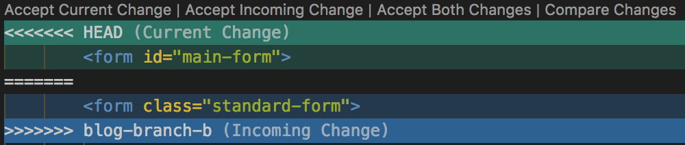 Changes in a Git merge.