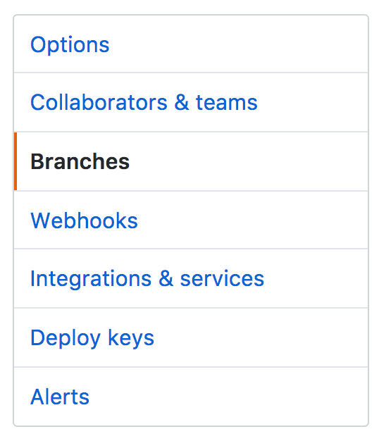 Menu item for navigating to GitHub's Protected Branches feature.