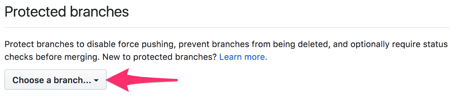 Selecting a branch in Protected Branches.