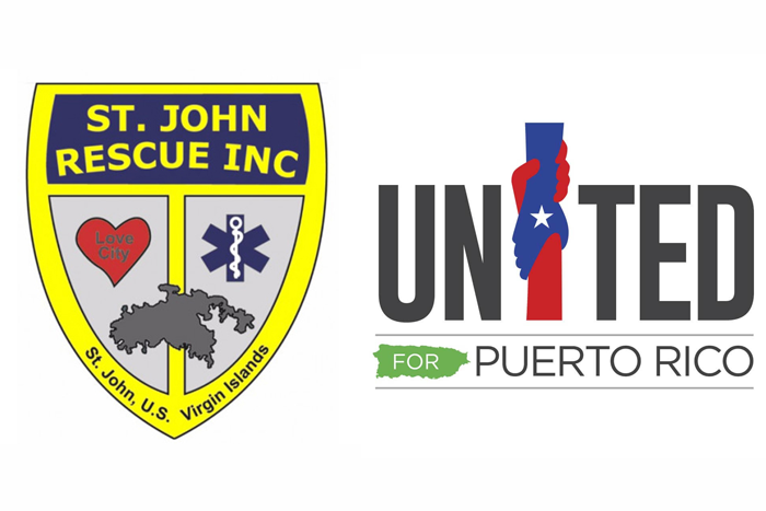 Logos for charitable organizations St. John Rescue and Unidos Por Puerto Rico