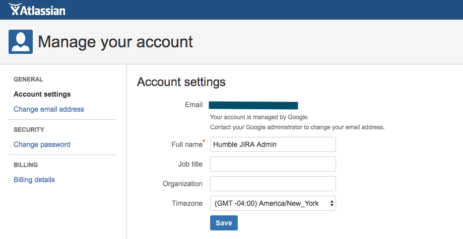 JIRA account settings with a name change.