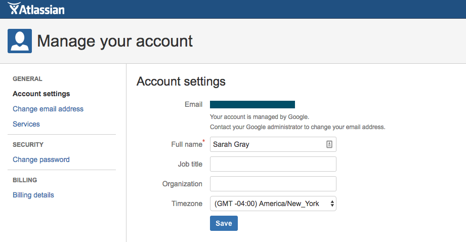 JIRA account settings page