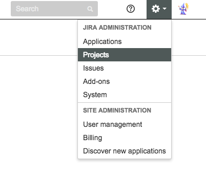 The admin dropdown in the previous version of JIRA.