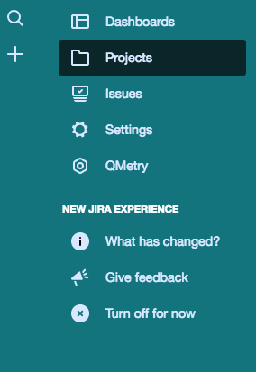 The left navigation menu in the new JIRA experience.