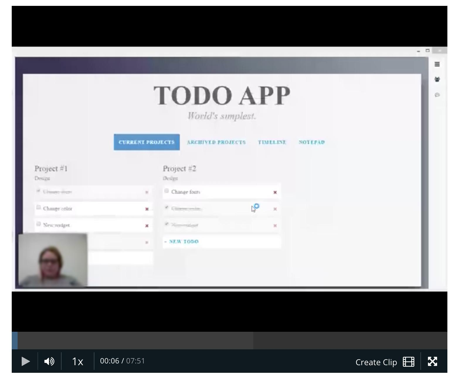 A usability test for a to-do app.